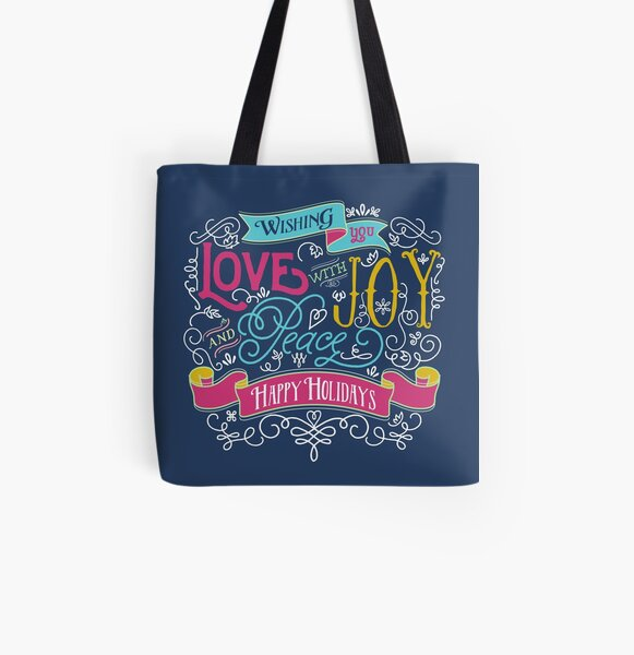 Love Joy Peace Christmas Typography Happy Holidays Banner All Over Print Tote Bag