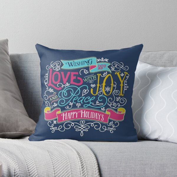 Love Joy Peace Christmas Typography Happy Holidays Banner Throw Pillow