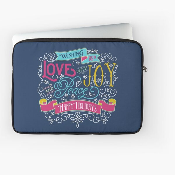 Love Joy Peace Christmas Typography Happy Holidays Banner Laptop Sleeve