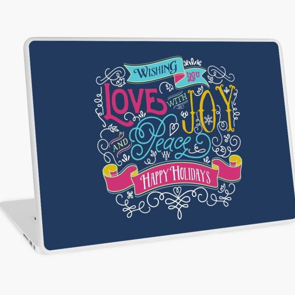 Love Joy Peace Christmas Typography Happy Holidays Banner Laptop Skin