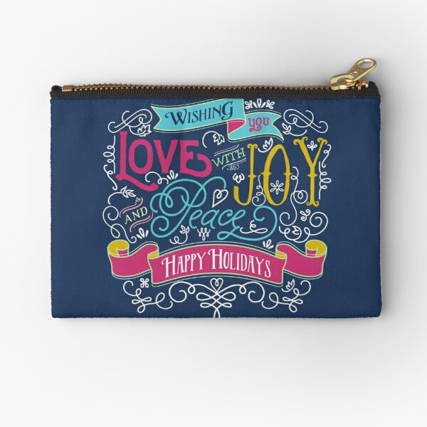 Love Joy Peace Christmas Typography Happy Holidays Banner Zipper Pouch