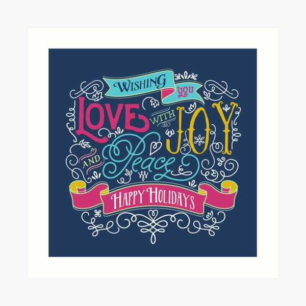 Love Joy Peace Christmas Typography Happy Holidays Banner Art Print