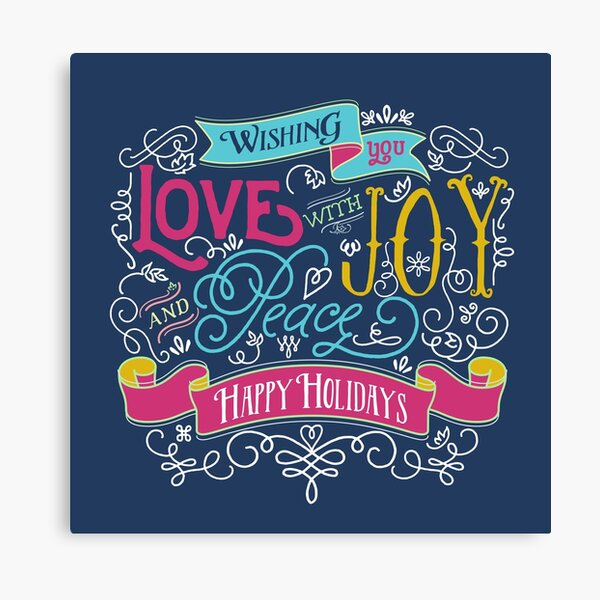 Love Joy Peace Christmas Typography Happy Holidays Banner Canvas Print