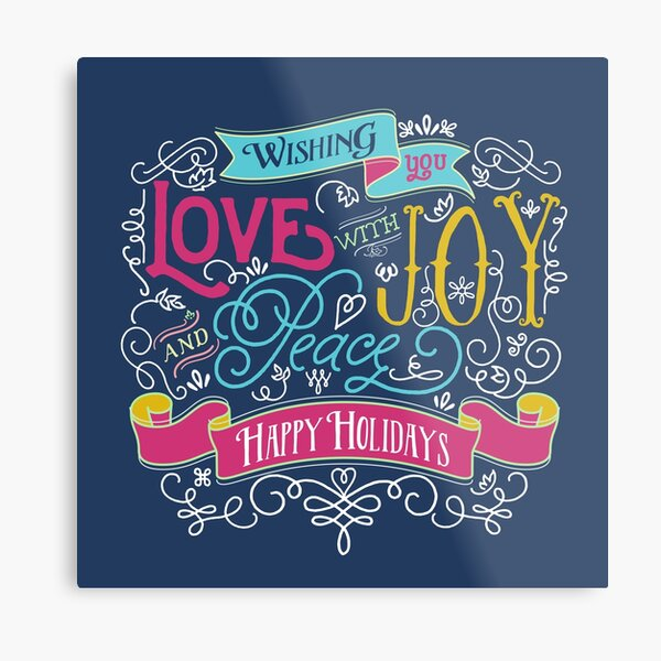 Love Joy Peace Christmas Typography Happy Holidays Banner Metal Print