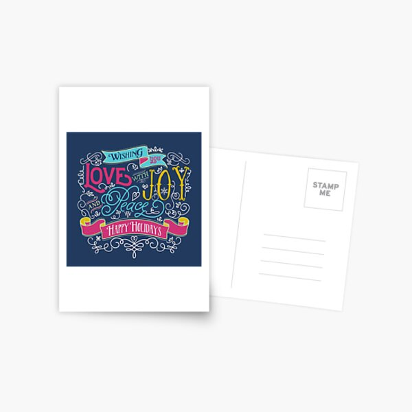 Love Joy Peace Christmas Typography Happy Holidays Banner Postcard