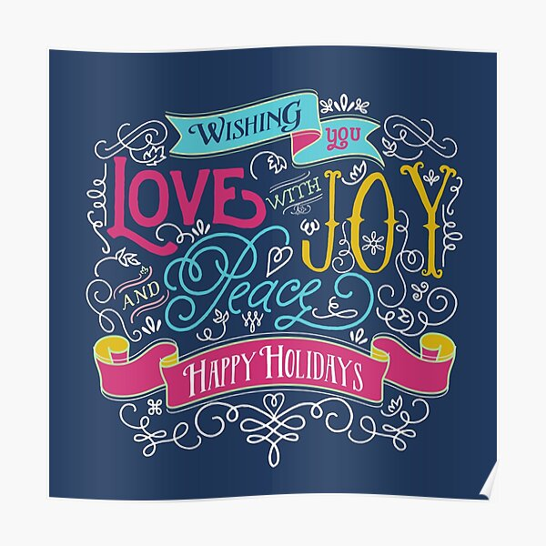 Love Joy Peace Christmas Typography Happy Holidays Banner Poster