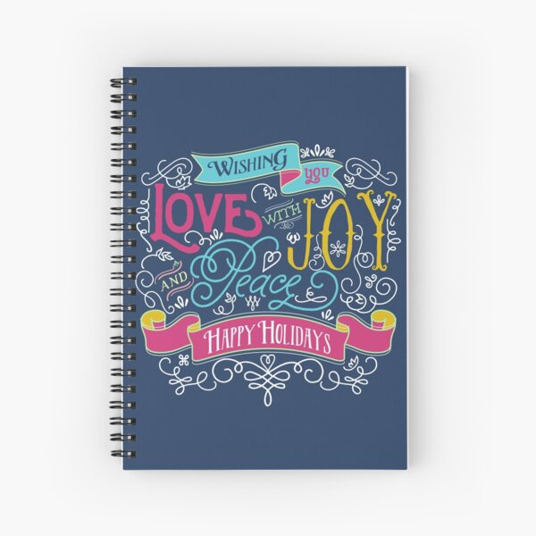 Love Joy Peace Christmas Typography Happy Holidays Banner Spiral Notebook