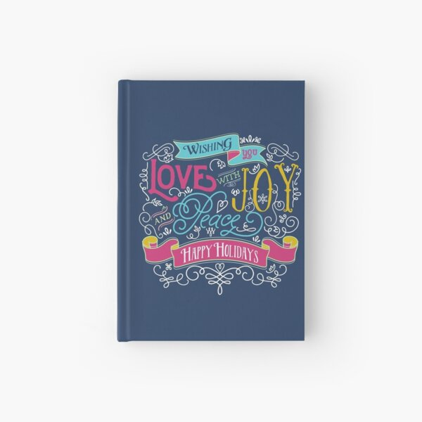 Love Joy Peace Christmas Typography Happy Holidays Banner Hardcover Journal