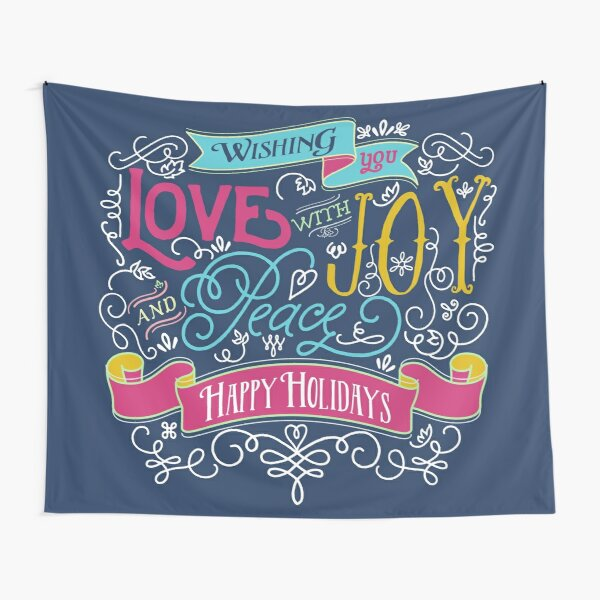 Love Joy Peace Christmas Typography Happy Holidays Banner Tapestry