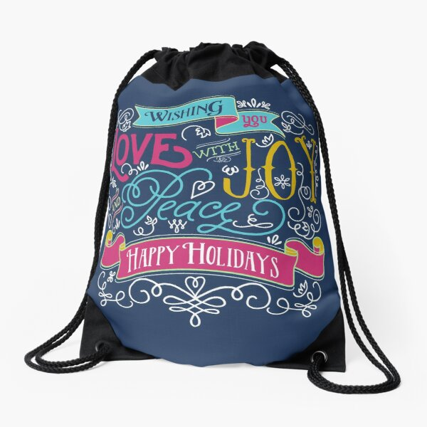 Love Joy Peace Christmas Typography Happy Holidays Banner Drawstring Bag
