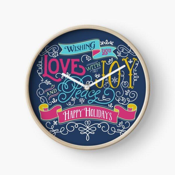 Love Joy Peace Christmas Typography Happy Holidays Banner Clock