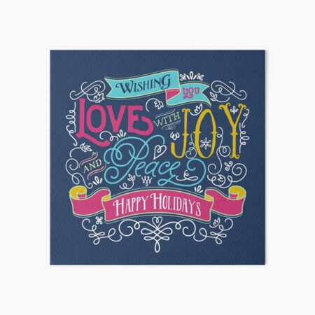 Love Joy Peace Christmas Typography Happy Holidays Banner Art Board Print