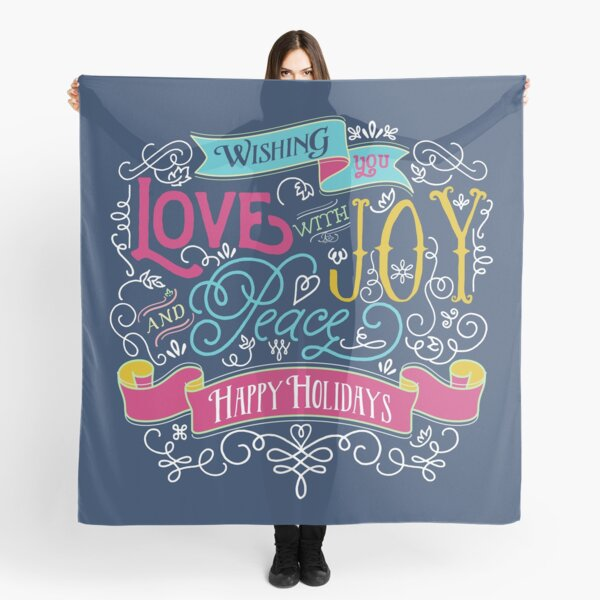 Love Joy Peace Christmas Typography Happy Holidays Banner Scarf