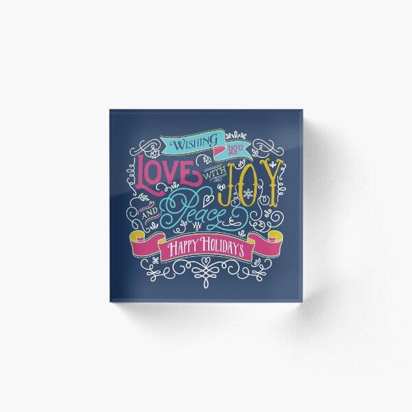 Love Joy Peace Christmas Typography Happy Holidays Banner Acrylic Block