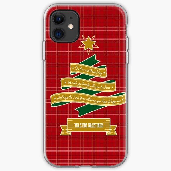 Ribbon Christmas Tree Red Plaid Yuletide Greetings iPhone Soft Case