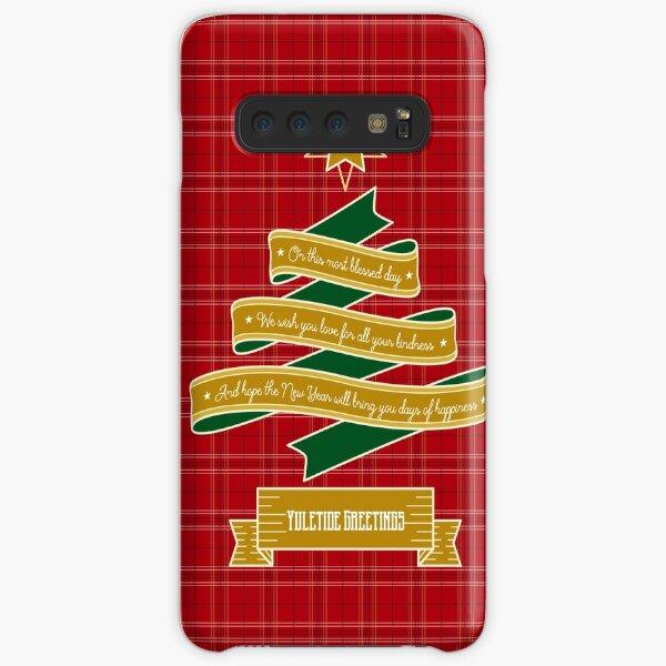 Ribbon Christmas Tree Red Plaid Yuletide Greetings Samsung Galaxy Snap Case