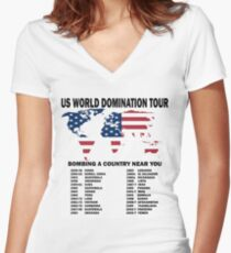 US World Domination Women's Fitted V-Neck T-Shirt