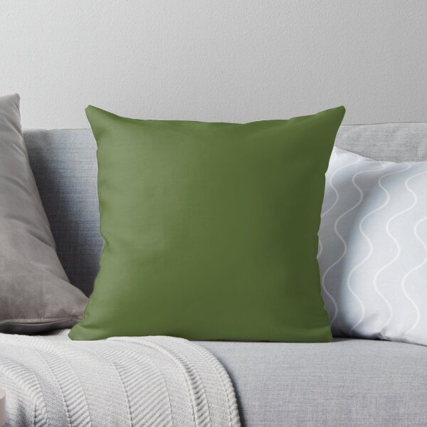 SOLID PLAIN DARK OLIVE GREEN - OVER 100 SHADES OF GREEN ON OZCUSHIONS  Throw Pillow