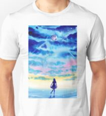 Anime Sky Girl Silhouette Galaxy Sunset Watercolor T-Shirt