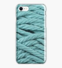 Baby Blue Yarn Texture Close Up iPhone Case/Skin