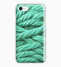 Aquamarine Yarn Texture Close Up iPhone Case/Skin