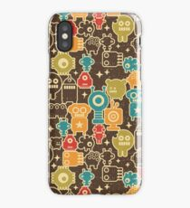 Robots on brown iPhone Case/Skin