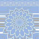 Powder Blue Abstract Flower by Joy Watson