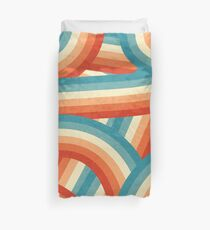 Red, Orange, Blue and Cream 70's Style Rainbow Stripes Duvet Cover