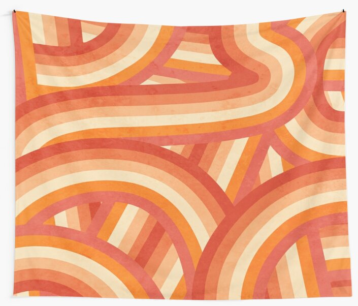 Red, Orange and Cream 70's Style Rainbow Stripes by itsjensworld