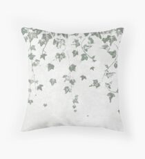 Gray Green Trailing Ivy Leaf Print Throw Pillow
