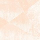 Peach/Apricot and White Geometric Triangles Lino Textured Print by itsjensworld