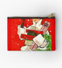 Happy holiday shopping girl, vintage Christmas greeting card Studio Pouch