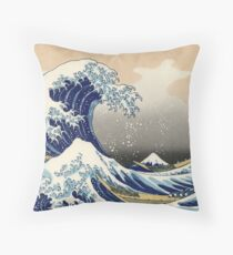 Japanese Print | The Great Wave of Kanagawa | Globetrotter  Throw Pillow