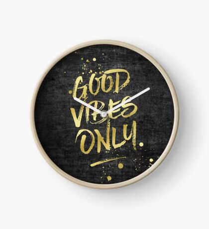 Good Vibes Only Gold Glitter Rough Black Grunge Clock