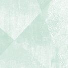 Mint Green and White Geometric Triangles Lino-Textured Print by itsjensworld
