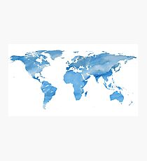 Map of the World | Blue Watercolour | Globetrotter Photographic Print