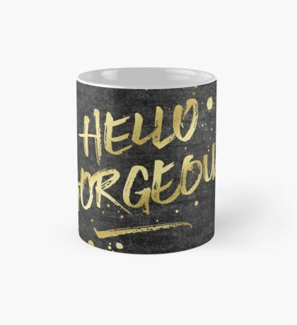 Hello Gorgeous Gold Glitter Rough Black Grunge Mug