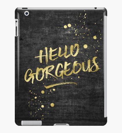Hello Gorgeous Gold Glitter Rough Black Grunge iPad Case/Skin