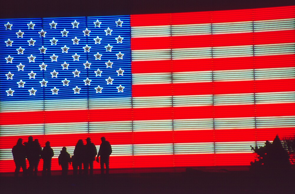 Quot Neon American Flag With Silhouetted Family Quot By