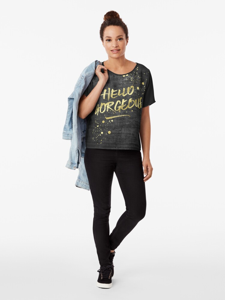 Alternate view of Hello Gorgeous Gold Glitter Rough Black Grunge Chiffon Top