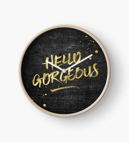 Hello Gorgeous Gold Glitter Rough Black Grunge Clock