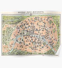Antique Map Paris France   Globetrotter Poster