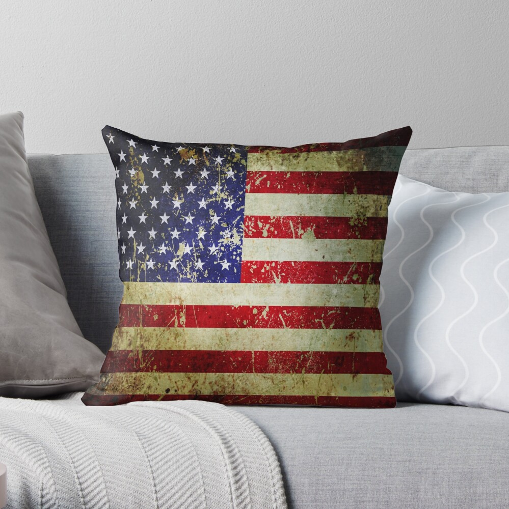 American Flag - Grunge Vintage Aged US Flag Throw Pillow