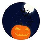 Halloween Pumpkin & Bats by Andreea Butiu