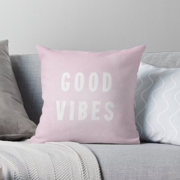 Pretty Pink and White Distressed Print Effect Good Vibes Throw Pillow