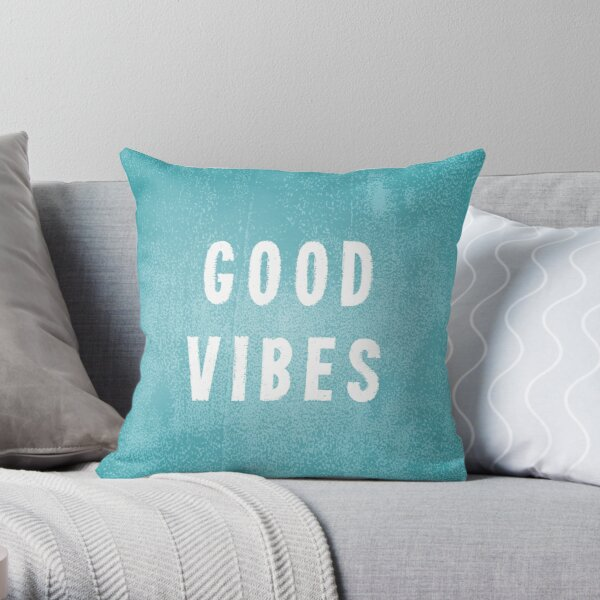 Beachy Aqua Blue-Green and White Distressed Print Effect Good Vibes Throw Pillow