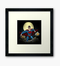 Superhero with Red Cape Framed Print
