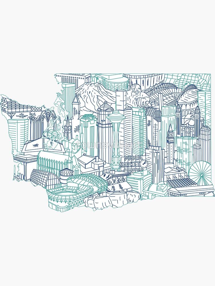Seattle Washington Skyline Cityscape Art by townsvilleart