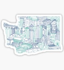 Seattle Washington Skyline Cityscape Art Sticker