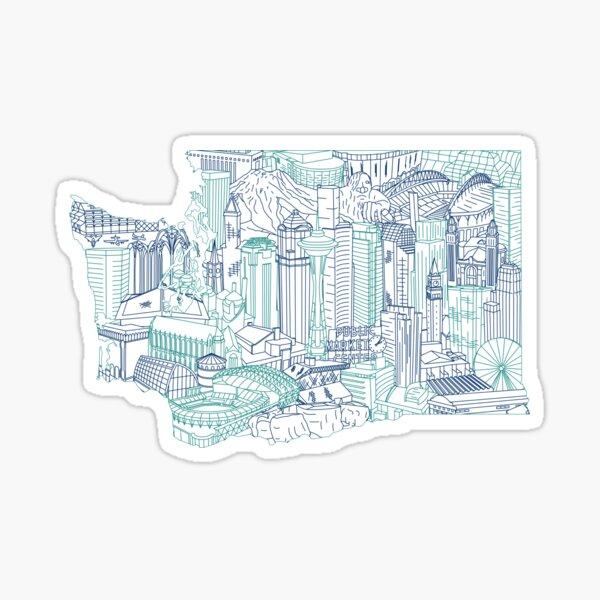 Seattle Washington Skyline Cityscape Art Sticker